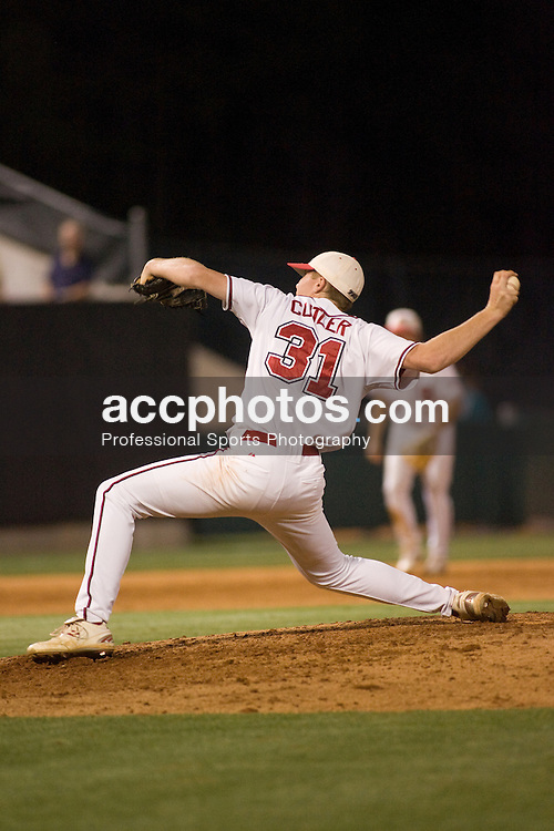 25 April 2007: North Carolina State Wolfpack pitcher Joey Cutler (31) during a 6-1 win over the North Carolina - Wilmington Seahawks at Doak Field in Raleigh, NC.