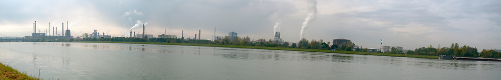 Industrial Zone in Linz Austria. The Danube river in the foreground