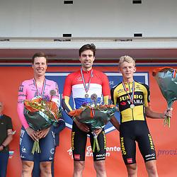 EMMEN (NED) June 16: <br /> CYCLING <br /> Podium men elite 4th title Tom Dumoulin, 2nd Sebastian Langeveld (Netherlands / Team EF Education First) and 3th Koen Bouwman (Netherlands / Team Jumbo - Visma)