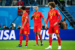 July 10, 2018 - St Petersburg, Russia - 180710 Moussa Dembele, Vincent Kompany and Marouane Fellaini of Belgium look dejected after Samuel Umtiti of France (not pictured) scored 1-0 during the FIFA World Cup semi final match between France and Belgium on July 10, 2018 in ST Petersburg..Photo: Petter Arvidson / BILDBYRÃ…N / kod PA / 92084 (Credit Image: © Petter Arvidson/Bildbyran via ZUMA Press)