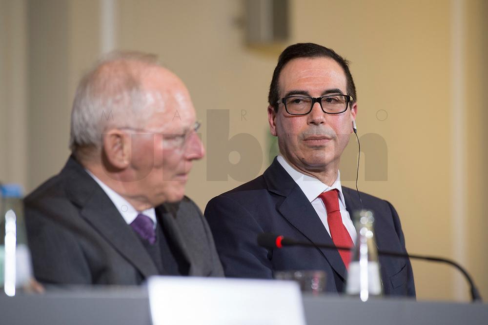 """16 MAR 2017, BERLIN/GERMANY:<br /> Wolfgang Schaeuble (L), CDU, Bundesfinanzminister, und Steven Terner """"Steve"""" Mnuchin (R), Fianzminister der Vereinigten Staaten von Amerika, USA, waehrend einer Pressekonferenz nach einem gemeinsamen Treffen, Bundesministerium der Finanzen<br /> IMAGE: 20170316-03-018<br /> KEYWORDS: Wolfgang Schäuble, Steve Mnuchin, Treasury secretary"""