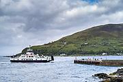 Calmac car ferry - Caldeonian MacBrayne vehicle ferries - departing from Lochranza Ferry Port, Isle of Arran, Scotland