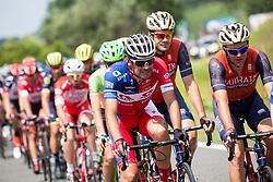 Gregor Gazvoda (SLO) of KK Adria Mobil and Borut Bozic (SLO) of Bahrain-Merida  during Stage 3 of 24th Tour of Slovenia 2017 / Tour de Slovenie from Celje to Rogla (167,7 km) cycling race on June 16, 2017 in Slovenia. Photo by Vid Ponikvar / Sportida