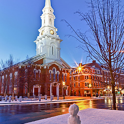 Little snowman in Market Square, Portsmouth, New Hampshire.