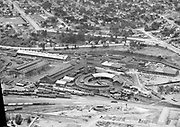 """Ackroyd 00074-1. """"Union Pacific Roundhouse aerial. August 17, 1947"""" (5x7"""" negative. view looking northeast. Interstate and Greeley on top of photo. Overlook park upper left. Much of the area at the top was taken out for I-5 and Fremont Bridge ramps)"""