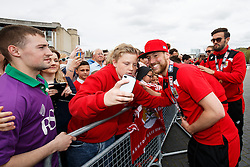 Scott Wagstaff poses for selfies during the Bristol City open top bus parade to celebrate winning both the League 1 and Johnstone's Paint Trophy titles this season and promotion to the Championship - Photo mandatory by-line: Rogan Thomson/JMP - 07966 386802 - 04/05/2015 - SPORT - FOOTBALL - Bristol, England - Bristol City Bus Parade.