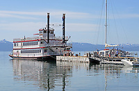 MS Dixie II, paddle steamer, moored, Zephyr Cove, Nevada, USA, is the largest vessel on South Lake Tahoe. The lake itself is split vertically between Nevada in the East and California in the West. It traverses the lake from Zephyr Cove to Emerald Bay in California. 201304261924<br /> <br /> Copyright Image from Victor Patterson, 54 Dorchester Park, Belfast, UK, BT9 6RJ<br /> <br /> Tel: +44 28 9066 1296<br /> Mob: +44 7802 353836<br /> Voicemail +44 20 8816 7153<br /> Skype: victorpattersonbelfast<br /> Email: victorpatterson@me.com<br /> Email: victorpatterson@ireland.com (back-up)<br /> <br /> IMPORTANT: If you wish to use this image or any other of my images please go to www.victorpatterson.com and click on the Terms & Conditions. Then contact me by email or phone with the reference number(s) of the image(s) concerned.