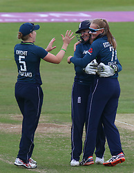 June 15, 2018 - Canterbury, England, United Kingdom - Sophie Ecclestone of England Women celebrates the wicket of Andrie Steyn South Africa Women.during Women's One Day International Series match between England Women against South Africa Women at The Spitfire Ground, St Lawrence, Canterbury, on 15 June 2018  (Credit Image: © Kieran Galvin/NurPhoto via ZUMA Press)