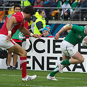 Keith Earls, Ireland score a try during the Ireland V Wales Quarter Final match at the IRB Rugby World Cup tournament. Wellington Regional Stadium, Wellington, New Zealand, 8th October 2011. Photo Tim Clayton...
