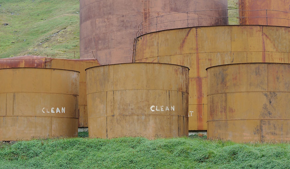 Rusting tanks for the storage of whale and seal oil  among the ruins of the whaling station. Grytviken, South Georgia 20Feb16