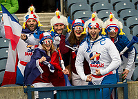 EDINBURGH, SCOTLAND - FEBRUARY 11: French supporters in high spirits during the NatWest Six Nations match between Scotland and France at Murrayfield on February 11, 2018 in Edinburgh, Scotland. (Photo by MB Media/Getty Images)