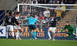 Dunfermline's Jordan Moore scores their goal.<br /> Falkirk 2 v 1 Dunfermline, Scottish League Cup, 27/8/2013, at The Falkirk Stadium.<br /> ©Michael Schofield.