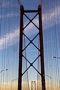 Bridge over Tagus river as seen from a car crossing it.
