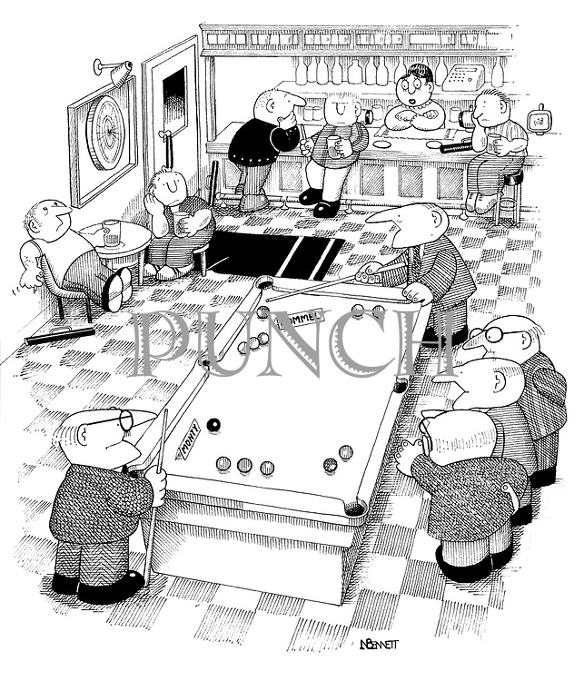 (A pub scene with a pool table where pensioners playing have one side of the table labelled 'Rommel' and the other 'Monty')