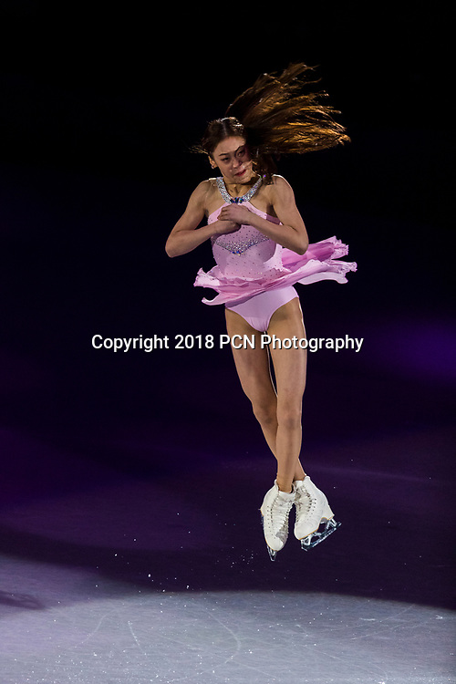 Young Korean female figure skater  performing at the Figure Skating Gala Exhibition at the Olympic Winter Games PyeongChang 2018