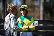 27 March 2010 : Bernie Dalton and Sue Sensor talk in the paddock before the Gr. II Carolina Cup steeplechase race. Dalton was riding Sensor's horse SUNSHINE NUMBERS.
