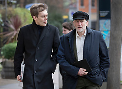 © Licensed to London News Pictures. 29/01/2017. London, UK. Labour party leader Jeremy Corbyn and Director of Strategy and Communications Seumas  Milne arrive at ITV Studios to appear on ITV's Peston's Politics. Photo credit: Peter Macdiarmid/LNP
