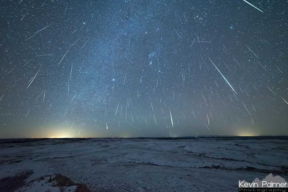 The Geminid Meteor Shower was very active in 2018. This view is looking south from Diamond Butte, Montana.