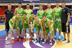 Slovenia basketball national team with the trophy during Trofej Beograd tournament third place match against Hungary at Pionir arena  in Belgrade, Serbia on August 9th 2012.Foto: Marko Metlas / MN Press / Sportida.com