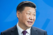 The President of The People's Republic of China Xi Jinping as seen during a Joint press conference with German Chancellor Angela Merkel in the Chancellery in Berlin, on July 5 2017.<br /> (Photo by Omer Messinger)