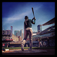 iPhone Instagram of Nick Punto of the Oakland Athletics warming up on-deck against the Minnnesota Twins at Target Field on April 9, 2014