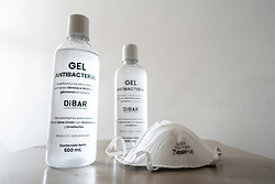 Anti-bacterial gel to clean hands and a face mask in Mexico City, Mexico