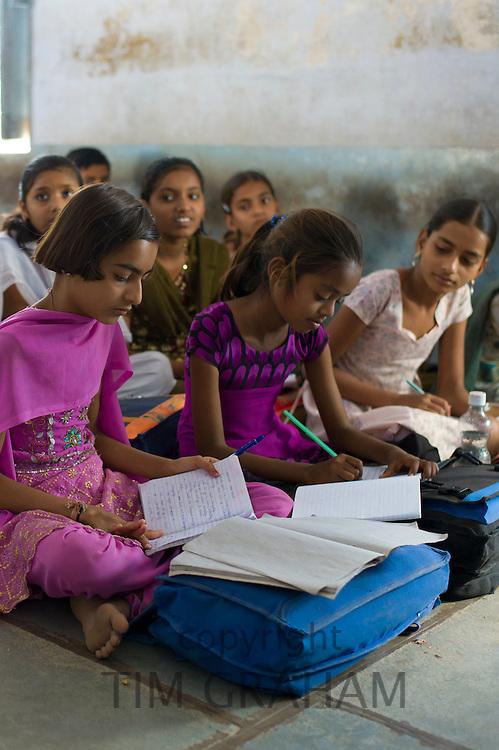 Indian children learning English at Rajyakaiya School in Narlai village, Rajasthan, Northern India