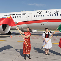 Shanghai Airlines Boeing Dreamliner is seen during the opening of the new Shanghai-Budapest destination at Ferenc Liszt Budapest Airport in Budapest, Hungary on {monthnameapap} 7, 2019. ATTILA VOLGYI