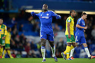 Kurt Zouma of Chelsea celebrates the win after the final whistle. Barclays Premier league match, Chelsea v Norwich city at Stamford Bridge in London on Saturday 21st November 2015.<br /> pic by John Patrick Fletcher, Andrew Orchard sports photography.