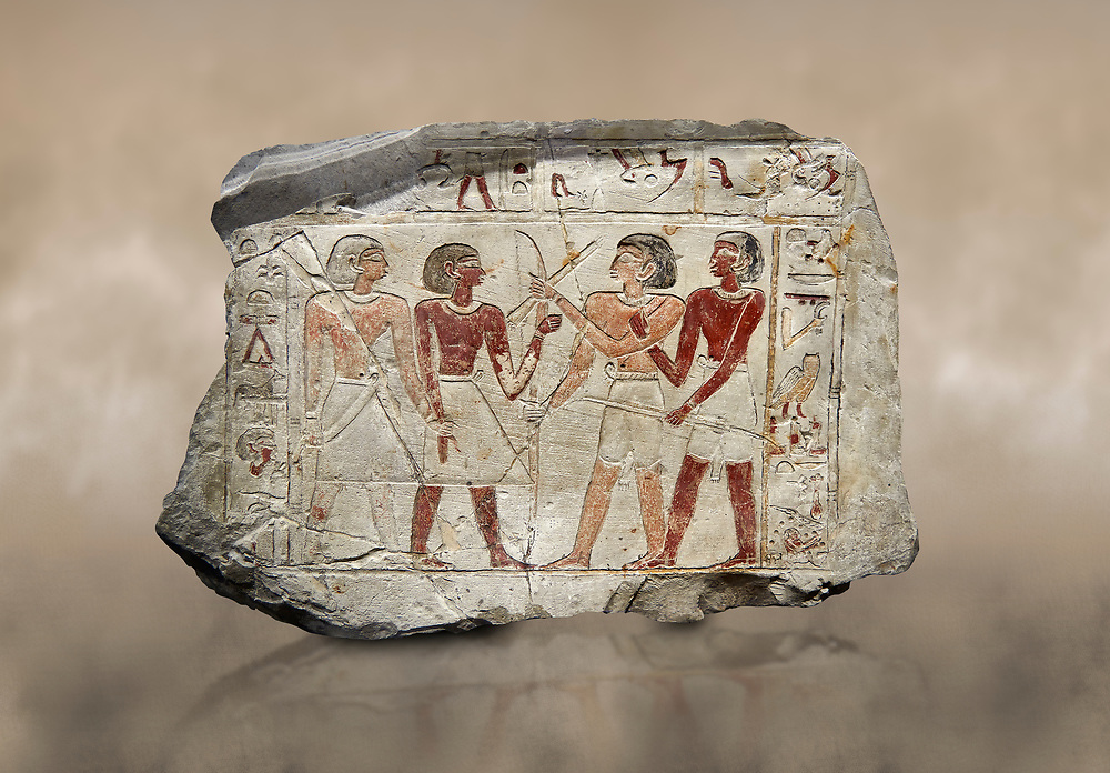 Ancient Egyptian stele of  2 pairs of archers of different ethnic groups, limestone, First Inttermediate Period, (2118-1980 BC), Goblein, Tomb of iti and Neferu, 88967-960-Senebetysy-Stele-Ancient-Egypt Egyptian Museum, Turin. <br /> <br /> The stele was wedged into a painting in the east wall of the hallway, Schiaparelli cat 13115 .<br /> <br /> If you prefer to buy from our ALAMY PHOTO LIBRARY  Collection visit : https://www.alamy.com/portfolio/paul-williams-funkystock/ancient-egyptian-art-artefacts.html  . Type -   Turin   - into the LOWER SEARCH WITHIN GALLERY box. Refine search by adding background colour, subject etc<br /> <br /> Visit our ANCIENT WORLD PHOTO COLLECTIONS for more photos to download or buy as wall art prints https://funkystock.photoshelter.com/gallery-collection/Ancient-World-Art-Antiquities-Historic-Sites-Pictures-Images-of/C00006u26yqSkDOM