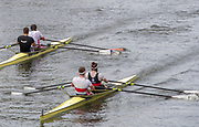 Henley-On-Thames, Berkshire, UK.,  Friday, 13.08.21,   Heat of the Diamond Challenge Sculls, Bucks Station, Reading University and Leander Club,  Bow Sam TOWNSEND and Charles COUSINS, Berks Station, Bow Flintan McCATHY and Paul O'DONAVAN, Skibbereen Rowing Club and University College Cork Ireland, 2021 Henley Royal Regatta,  River Thames, Thames Valley, Henley Reach, [Mandatory Credit ©Karon PHILLIPS/Intersport Images],