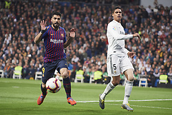 March 2, 2019 - Madrid, Madrid, Spain - Sergio Busquets (midfielder; Barcelona), Luis Suarez (forward; Barcelona) in action during La Liga match between Real Madrid and FC Barcelona at Santiago Bernabeu Stadium on March 3, 2019 in Madrid, Spain (Credit Image: © Jack Abuin/ZUMA Wire)