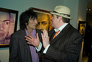 RONNIE WOOD AND PHILL JUPITUS, Ideas And Idols - private view of work by Paul Karslake.<br />Scream, 34 Bruton Street, London, W1, 6.30-8.30pm<br />21 February 2008.  *** Local Caption *** -DO NOT ARCHIVE-© Copyright Photograph by Dafydd Jones. 248 Clapham Rd. London SW9 0PZ. Tel 0207 820 0771. www.dafjones.com.