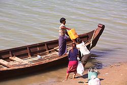 Loading Item Into Water Taxi, Ayeyarwady River