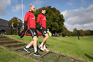 Wales players Jonathan Williams (l) and Ben Davies ® arrive for theWales football team training at the Vale Resort, Hensol , South Wales on Monday 2nd October 2017, the team are preparing for their FIFA World Cup qualifier away to Georgia this week. pic by Andrew Orchard, Andrew Orchard sports photography