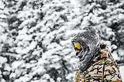 """SHOT 1/24/16 1:32:23 PM - Joaquin Fischer of Midway, Utah pauses to find a line at Brighton Ski Resort on a powder day. Brighton is a ski area located in Big Cottonwood Canyon, 30 miles (48 km) from downtown Salt Lake City, Utah. Brighton Ski Resort was the first ski resort in Utah, and one of the first in the United States. Brighton was started in 1936 when members of the Alpine Ski Club built a rope tow from wire and an old elevator motor. Brighton claims to be a """"no-frills"""" resort whose sole business is to provide skiers and snowboarders with top-notch trails. Brighton is also known for its extensive backcountry access, visitors can purchase single ride lift tickets to reach the backcountry access gates at the top of the resort. Although the terrain inbounds at Brighton can rival that of the backcountry, Brighton is known for its cliffs, chutes, bowls and natural features. (Photo by Marc Piscotty / © 2016)"""