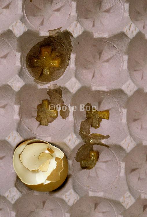 One broken egg in a egg carton