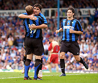 Photo: Daniel Hambury.<br /> Portsmouth v Inter Milan. Pre Season Friendly.<br /> 31/07/2005.<br /> Inter's  David Pizarro celebrates his goal.