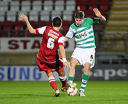 Yeovil Town's Dominic Blizzard and Leyton Orient's Mathieu Baudry battle for the ball - Photo mandatory by-line: Dougie Allward/JMP - Tel: Mobile: 07966 386802 09/01/2013 - SPORT - FOOTBALL - Matchroom Stadium - London -  Leyton Orient v Yeovil Town - Johnstone's Paint Trophy Southern area semi-final.