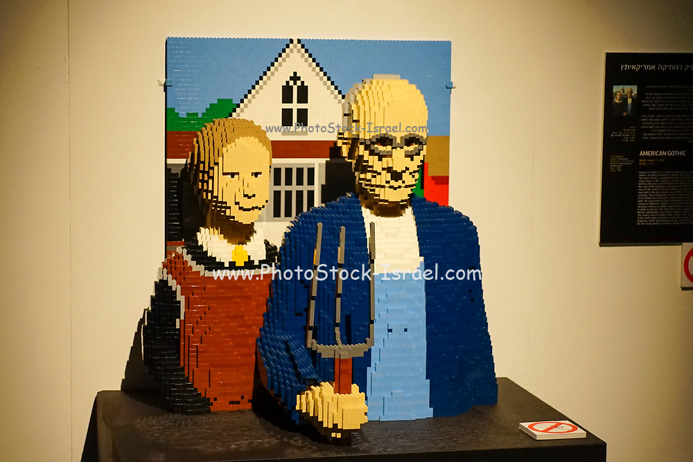 classic American art from Lego building blocks at the Holon Children's museum. Holon, Israel