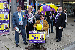 George Konstantinidis and Ian luder, prospective UKIP candidates for seats in Essex and some of their supporters in Basildon Town Centre canvassing for support in the forthcoming general election. April 2015