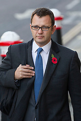 © Licensed to London News Pictures. 29/10/2013. London, UK. Andy Coulson, former editor of the News of the World and ex-Conservative Party communications director, arrives at the Old Bailey in London today (29/10/2013) where they face charges related to phone hacking during their time at the paper. Photo credit: Matt Cetti-Roberts/LNP