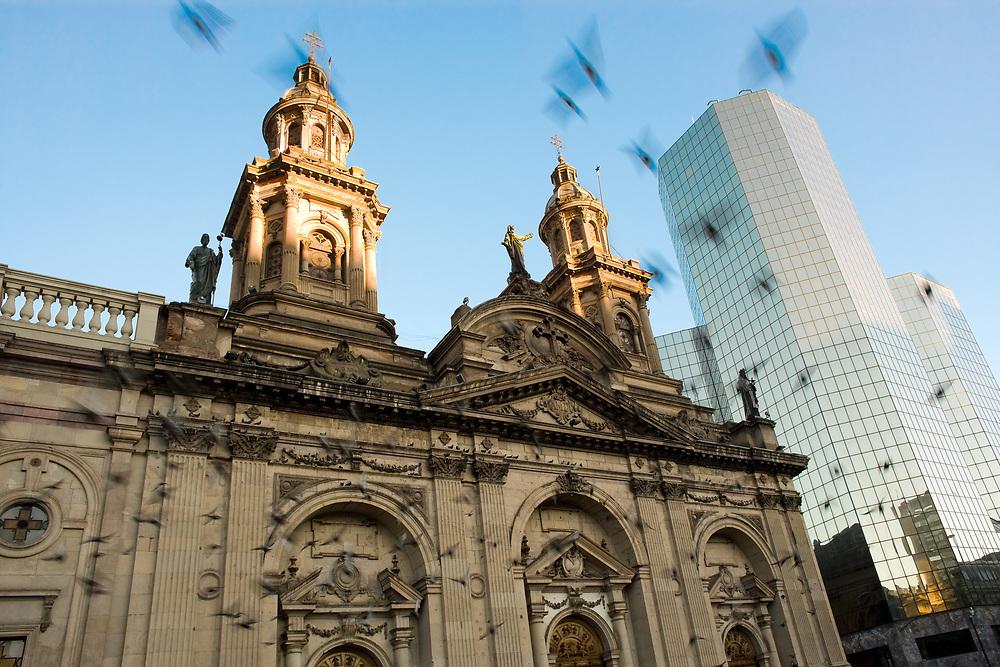 Metropolitan Cathedral at Plaza de Armas, the main square in downtown Santiago de Chile, South America