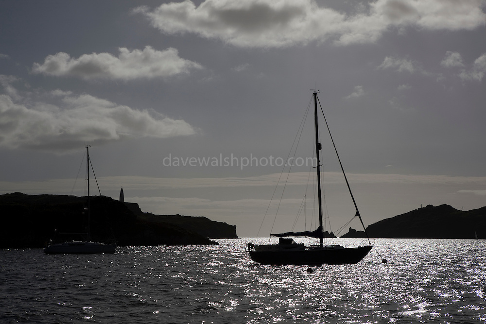 Yacht at anchor in the fishing village of Baltimore, West Cork, Ireland