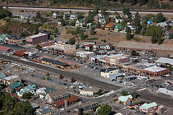 """""""Downtown Truckee Aerial 3"""" - Downtown Truckee photographed from a small amphibious seaplane with the door removed."""