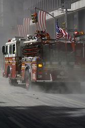 Sept. 11, 2001 - New York, New York, U.S. - Fire truck near the World Trade Center..(Credit Image: © Nancy Kaszerman/ZUMAPRESS.com)