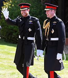 epa06749256 Britain's Prince Harry (L) and his brother and best man, Prince William (R), Duke of Cambridge arrive at St George's Chapel in Windsor Castle for his royal wedding ceremony to Meghan Markle, in Windsor, Britain, 19 May 2018. Photo by Neil Hall/ABACAPRESS.COM