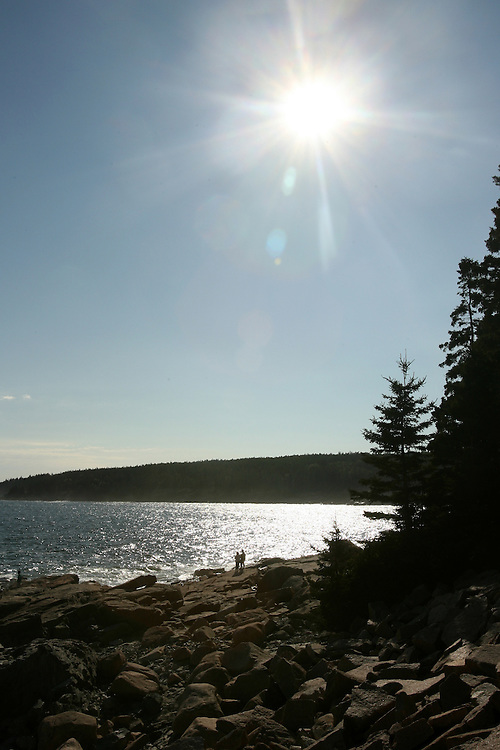 Sunburst over the water at Acadia National Park, scenic view in the northeast in Bar Harbor, Maine<br /> Copyright John O'Boyle<br /> john@johnoboyle.com