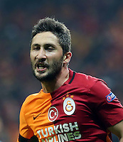 UEFA Europa league top 32 first leg match between Galatasaray and Lazio at Turk Telekom Arena in Istanbul , Turkey on February 18 , 2016.<br /> <br /> Pictured:  Sabri Sarioglu of Galatasaray.