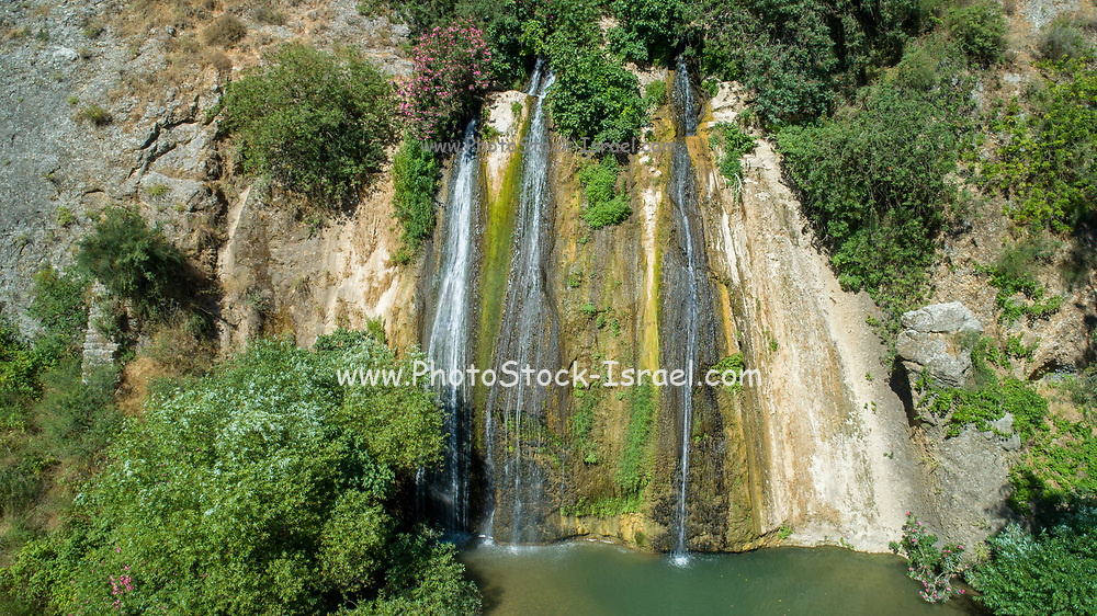 Israel, Upper Galilee, Iyyon River (Nahal Ayun or Ayun Stream) Nature reserve. The Mill waterfall (Hatahana) and chalk cliffs. Photographed in June